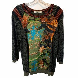 Aldomartins Anthropologie Knit Top with Silk Front